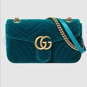 New Gucci Marmont Velvet Chain Bag Double G Gold